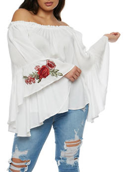 Plus Size Off the Shoulder Top with Ruffled Sleeves - IVORY - 0803058933094