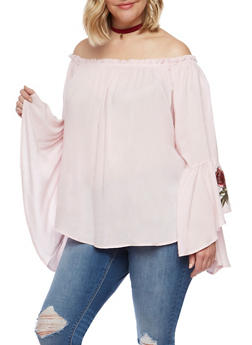 Plus Size Off the Shoulder Top with Ruffled Sleeves - 0803058933094