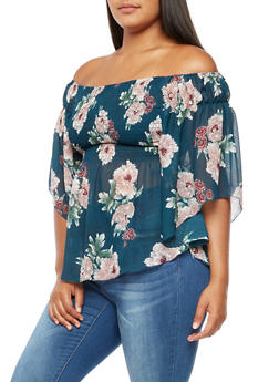 Plus Size Floral Smocked Off the Shoulder Top - 0803058933260