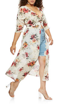 Plus Size Floral Maxi Duster with Button Closure - IVORY  160316 - 0803058933460