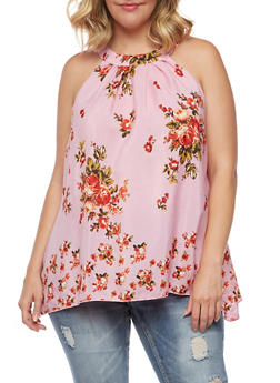 Plus Size Sleeveless Floral Top with Tie Neck - 0803058934081