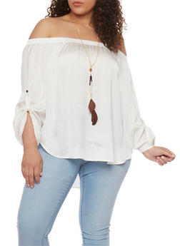 Plus Size Off the Shoulder Top with Tabbed Long Sleeves - IVORY - 0803058938092