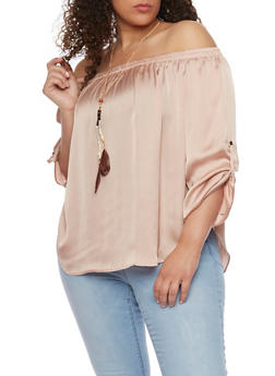 Plus Size Off the Shoulder Top with Tabbed Long Sleeves - 0803058938092
