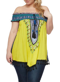 Plus Size Dashiki Print Off the Shoulder Top with Tassel Fringe - 0803058938204