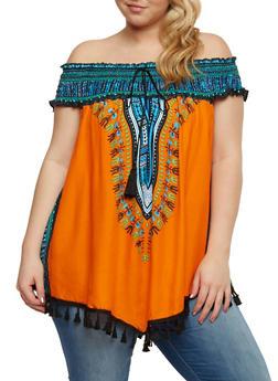 Plus Size Dashiki Print Off the Shoulder Top with Tassel Fringe - 0803058938204