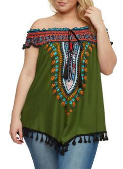 Plus Size Off The Shoulder Dashiki Print Top with Tassel Fringe - OLIVE - 0803058939204