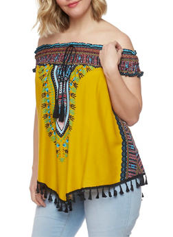 Plus Size Off The Shoulder Dashiki Print Top with Tassel Fringe - MUSTARD - 0803058939204