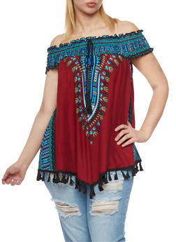 Plus Size Off The Shoulder Dashiki Print Top with Tassel Fringe - BURGUNDY - 0803058939204