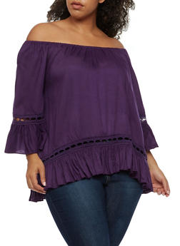 Plus Size Off the Shoulder Peasant Top with Ruffled Sleeves - 0803061634883