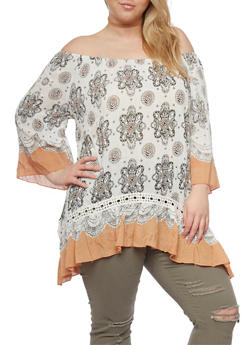 Plus Size Off The Shoulder Printed Top with Flutter Hem - 0803061634890