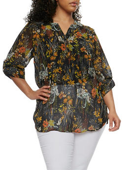 Plus Size Floral Tunic Top with Mandarin Collar - 0803062906335