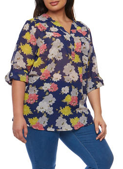 Plus Size Floral Tunic Top with Tab Sleeves - 0803062906364