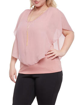 Plus Size Sleeveless V Neck Top with Sheer Overlay - 0803063408051
