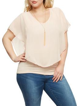 Plus Size Sleeveless V Neck Top with Sheer Overlay - BLUSH - 0803063408051