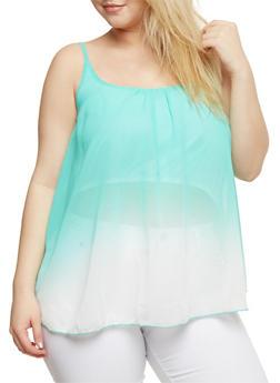 Plus Size Sleeveless Dip Dye Swing Top - 0803063508201