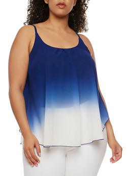 Plus Size Sleeveless Dip Dye Swing Top - 0803063508201