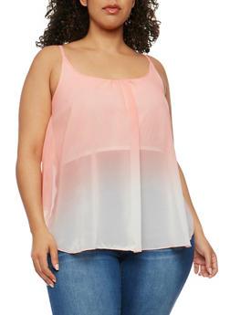 Plus Size Sleeveless Dip Dye Swing Top - BLUSH  PINK - 0803063508201