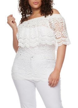 Plus Size Off the Shoulder Crocheted Top with Overlay Detail - IVORY - 0803064463216