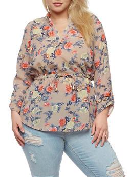 Plus Size Floral Mandarin Collar Tunic Top - 0803068700700