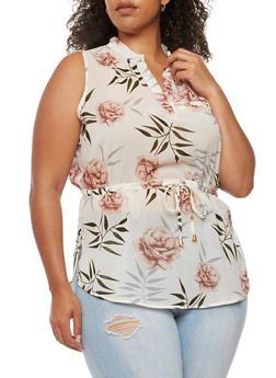 Plus Size Sleeveless Floral Drop Waist Top - 0803068700703