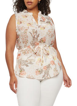 Plus Size Sleeveless Floral Top with Cinched Waist - 0803068700705