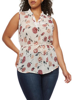 Plus Size Floral Top with Tie Waist - 0803068700706