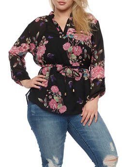 Plus Size Floral Mandarin Collar Tunic Top - 0803068700718