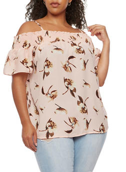 Plus Size Floral Crepe Knit Off the Shoulder Top - 0803068700951