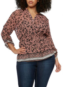 Plus Size Floral V Neck Top with Cinched Waist - 0803068705410