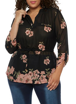 Plus Size Floral Cinched Blouse - 0803068706412
