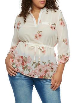 Plus Size Floral Cinched Blouse - 0803068706412