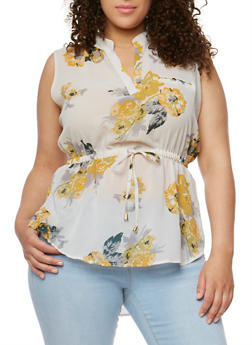 Plus Size Sleeveless V Neck Top with Cinched Waist - NAT/IVORY/MUSTARD #543 - 0803068708670