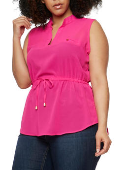 Plus Size Sleeveless V Neck Top with Cinched Waist - FUCHSIA   NL BEET - 0803068708670