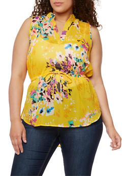 Plus Size Sleeveless V Neck Top with Cinched Waist - MUSTARD/IVORY - 0803068708670
