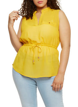 Plus Size Sleeveless V Neck Top with Cinched Waist - BR YELLOW - 0803068708670