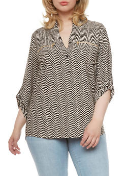 Plus Size Abstract Chevron Print Blouse with Bust Zip Accents - 0803068709078