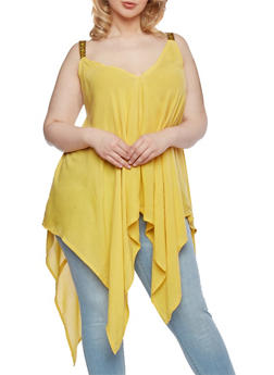 Plus Size Tunic Top with Handkerchief Hem and Embroidered Shoulder Straps - 0803070651211