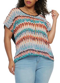 Plus Size Short Sleeve Printed Top with Necklace - 0803072240476
