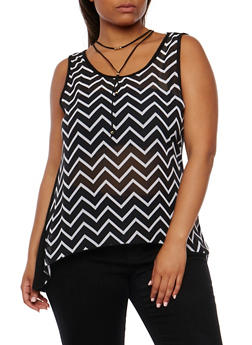 Plus Size Printed Front Tank Top with Choker - BLACK  DU498 - 0803072244351
