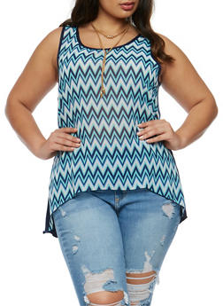 Plus Size Printed Front Tank Top with Choker - 0803072244351