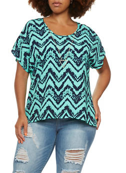 Plus Size Chevron Print Top with Removable Layered Teardrop Necklace - 0803072244476