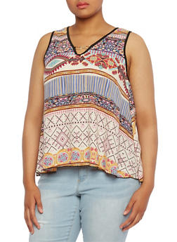 Plus Size Metal Link V-Neck Top with Ornate Print - 0803072811901