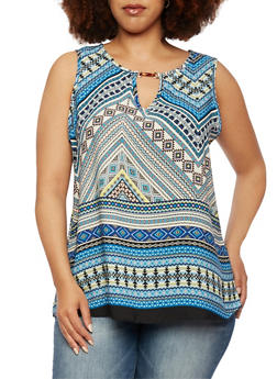 Plus Size Printed Tank Top with Keyhole Front - 0803072811916