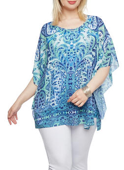 Plus Size Printed Top with Kimono Sleeves - 0803072822528