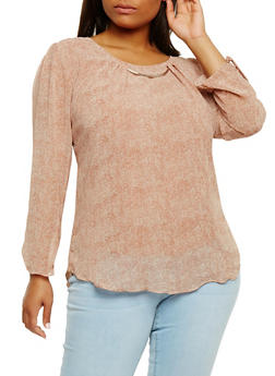 Plus Size Printed Long Sleeve Top with Metallic Neckline Detail - 0803073051551