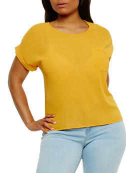 Plus Size Short Sleeve Top with Back Button Detail - 0803073051552