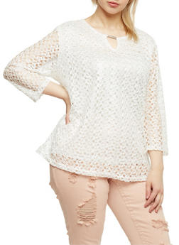 Plus Size Crochet Top with Keyhole Bar - WHITE - 0803073051660