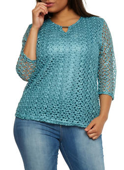 Plus Size Crochet Top with Keyhole Bar - 0803073051660