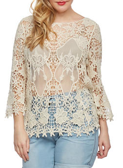 Plus Size Sheer Crochet Top with Three-Quarter Length Sleeves - 0803073350129
