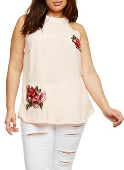 Plus Size Sleeveless Top with Rose Applique - BLUSH - 0803074014813